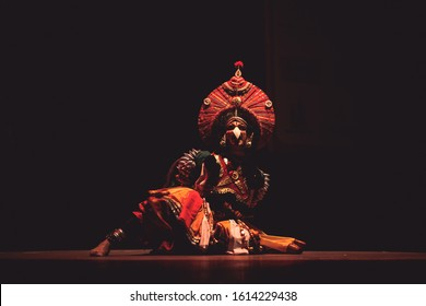 A yakshagana artist in the darkness at the event 'Drishti festival' which was staged in Chowdiah Hall,Bengaluru on January 11,2020