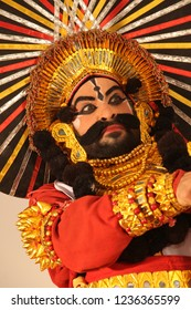 Yakshagana artist showing pride backstage at the Yakshagana festival event held on July 27,2018 at Oaklands residence in Bengaluru,India