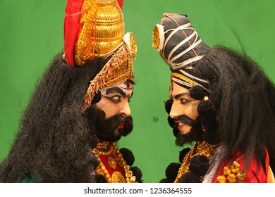 Yakshagana artists facing each other in green room at the Yakshagana festival event held on July 27,2018 at Oaklands residence in Bengaluru,India
