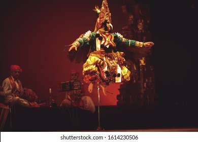 A yakshagana dancer jumps to the heaven at the event 'Drishti festival' which was staged in Chowdiah Hall,Bengaluru on January 11,2020