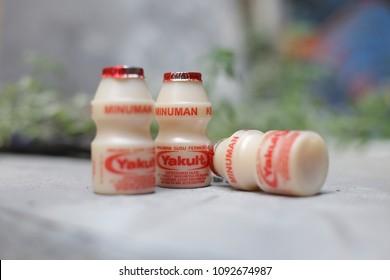 yakult drink milk yogurt isolated. Healthy yogurt product from yakult. yogyakarta indonesia. may 17, 2018.