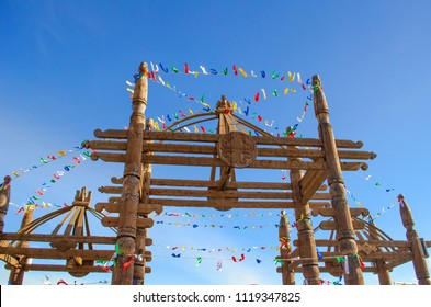 Yakut national gates decorated with ribbons for a ysyakh