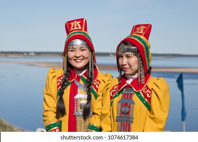 Yakutia, Russia - July 5, 2015: Young females dressed in the traditional Yakut costume