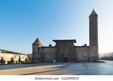 Yakutiye Madrasah , Erzurum,  Turkey, December 20, 2016; Yakutiye Madrasah and the mosque, Erzurum, Turkey. It is one of Turkey's top tourist historic building. Erzuurm is located in the city center.