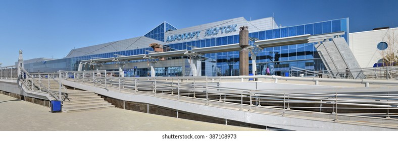 Yakutsk Airport (YKS), Russia - May 5,2014: New airport terminal Yakutsk on May 5,2014 in Yakutsk,  Sakha Republic, Russia. It has one runway and has a capacity of 700 passengers per hour.