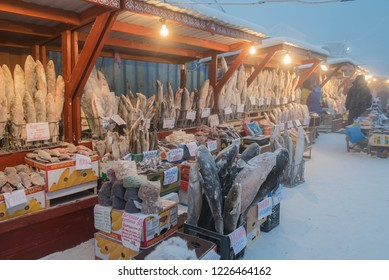 Yakutsk, Republic of Sakha / Russia /. January 2016 One of the coldest markets in the world. They sell frozen fish and meat.Street market