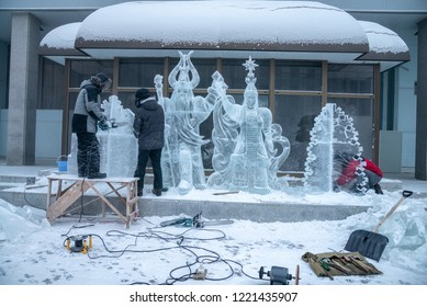 "Yakutsk, Republic of Sakha (Yakutia)/Russia - December 14 2014: Ice sculpture of Yakut folklore. Chyskhaan-the Lord of Cold or the 'Winter Bull' and stars Cholbon-Yakut ""morning star"", Venus"