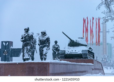 Yakutsk, Republic of Sakha (Yakutia)/Russia - December 14 2014: monument to the heroes of the second world war on Victory Square