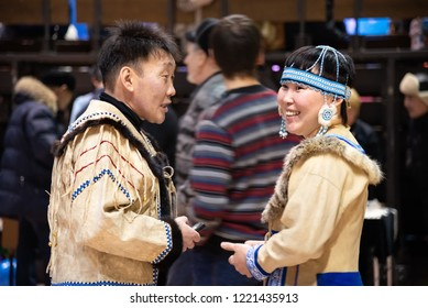 Yakutsk, Republic of Sakha (Yakutia)/Russia - December 07 2014:  young asian people in yakut national clothes of the North