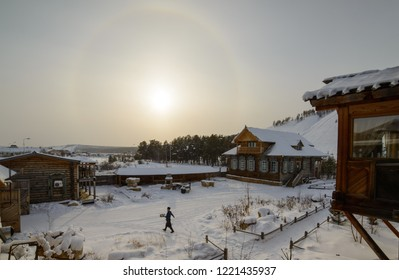 Yakutsk, Republic of Sakha (Yakutia)/Russia - March 11 2016: solar halo over the ethnographic complex Chochur Muran