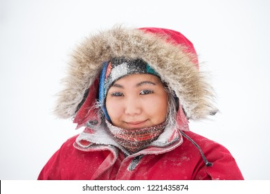 Yakutsk, Republic of Sakha (Yakutia)/Russia-January 04 2017:  Portrait of Yakut woman with frozen eyelashes