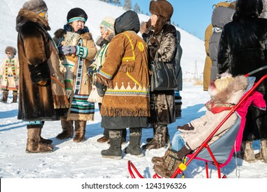 Yakutsk, Republic of Sakha (Yakutia)/Russia-March 01 2015: women in traditional clothes at the festival of the Meeting of the Sun