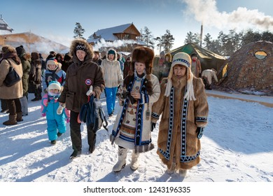 Yakutsk, Republic of Sakha (Yakutia)/Russia-March 01 2015: women in traditional clothes and fur hats at the festival of the Meeting of the Sun