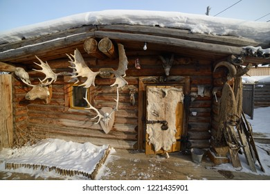Yakutsk, Republic of Sakha (Yakutia)/Russia-March 11 2016: hunting lodge for tourists in the ethnographic complex Chochur Muran