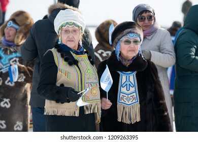 Yakutsk, Republic of Sakha (Yakutia)/Russia-March 18 2017: Yakut old woman in national clothes