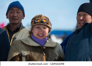 Yakutsk, Republic of Sakha (Yakutia)/Russia-March 18 2017: Smiling yakut woman in national clothes on Festival of reindeer breeders