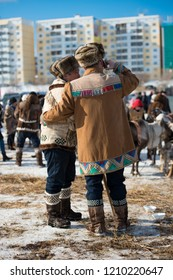 Yakutsk, Republic of Sakha (Yakutia)/Russia-March 18 2017: two men in traditional clothes with a northern motif at the festival of reindeer herders
