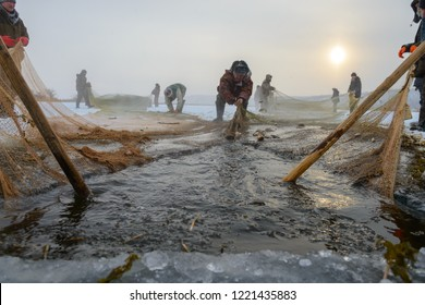 Yakutsk, Republic of Sakha (Yakutia)/Russia-November 13 2016:  ice fishing for crucians