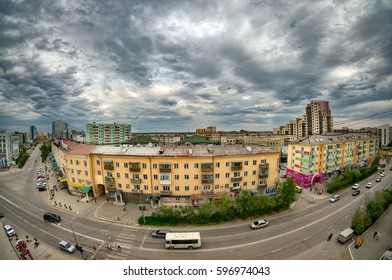 YAKUTSK, RUSSIA - JUNE 21, 2015: View of the central part of the city of Yakutsk