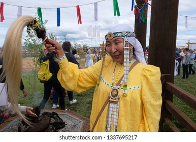 Yakutsk, Russia – June 23rd 2018. A traditional Yysah festive ceremony of meeting summer by Yakut people