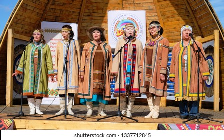 Yakutsk, Russia – June 23rd 2018. People wearing traditional Yakut costumes during annual Yysah local ceremony
