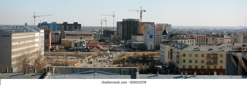 Yakutsk , Russia - May 5,2014: panoramic view of the central part of the city of Yakutsk