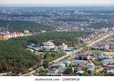 Yakutsk, Yakutia / Russia - August 28 2018: Yakutsk City on the permafrost, one of the coldest places on the planet. Summer top view on a city