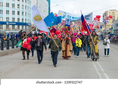 Yakutsk, Yakutia/Russia - May 01 2017: Demonstration of parade participants in the centre Yakutsk city on the International Workers' Day