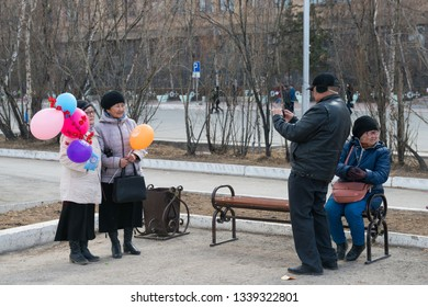 Yakutsk, Yakutia/Russia - May 01 2017: Celebration in the city on the occasion of Labor Day in the centre Yakutsk city on the International Workers' Day