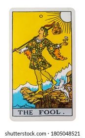 Yala Province, Thailand 29 August 2020. illustrative editorial tarot cards, the fool.