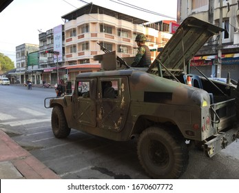 Yala, Thailand - April10, 2016: A solider in a tank on street of Yala city in Thailand. Yala is one of Thailand's deep south provinces that has conflict and insurgency for more than a decade.