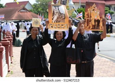 YALA, Thailand - November 9, 2016 : Thai people crowd in funeral of of His Majesty King Bhumibol Adulyadej at Yala provincial hall.