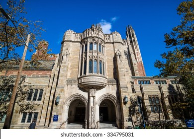Yale Law School buildings in autumn with blue sky in New Haven, CT USA