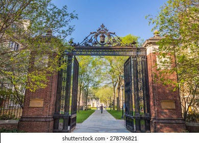 Yale university gate in spring blue sky in New Haven, CT USA