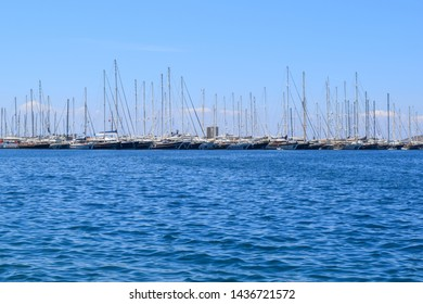 Yalikavak, Turkey - May 9 2019: Buildings and streets of Yalikavak resort town near Bodrum in Mugla province. Aegean coast of Turkey