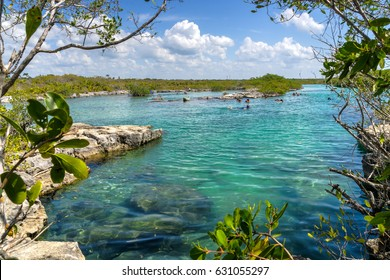 Yal-Ku Lagoon,  snorkeling holiday makers destination near Playa Del Carmen,Quintana Roo,Mexico