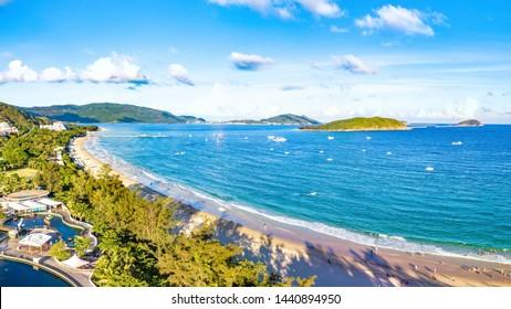 Yalong Bay National Coast Landscape, Sanya, Hainan Province, China, a Tropical Tourism Paradise in Southeat Asia. Aerial View.