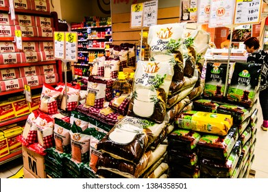 Yalova, Marmara / Turkey - April 29, 2019: Food products in local grocery store during the spring season where less people wandering around in the small summer town