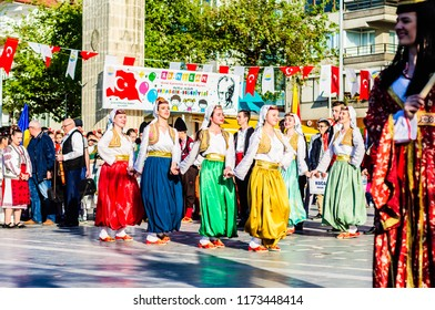 Yalova, Turkey - April 21, 2018: Friendly local folklore festival and charity event to raise cultural awareness with participation of Balkan Countries without media and press involvement