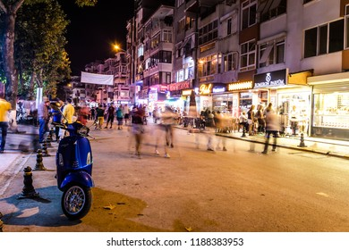 Yalova, Turkey - August 5, 2017: Evening time with colorful city of a summer and holiday vacation town named Cinarcik located in Marmara region of the country during summer season