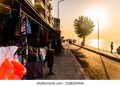 Yalova, Turkey - August 7, 2017: Typical Turkish summer vacation town environment named Cinarcik located in Marmara region of the country during hot summer season