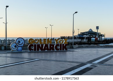 Yalova, Turkey - December 25, 2017: Streets and people on outdoors of town center during a winter day