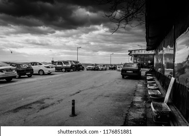 Yalova, Turkey - January 26, 2018: Seaside street environment of a nostalgic summer and holiday vacation town named Cinarcik town during winter which is a district in Marmara region of the country