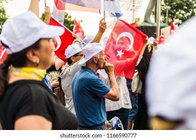 Yalova, Turkey - June 15, 2018: Wonderful Turkish people who love their beautiful country filled the streets in central square of their town