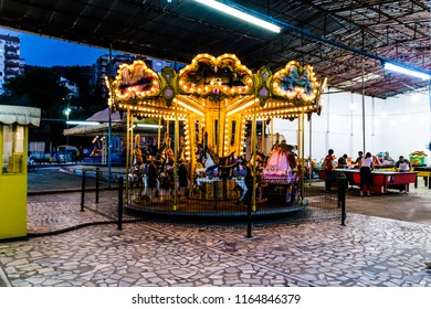 Yalova, Turkey - June 25, 2018: Desolated funfair and district bazaar area of summer vacation region nearby Marmara sea during a hot summer night