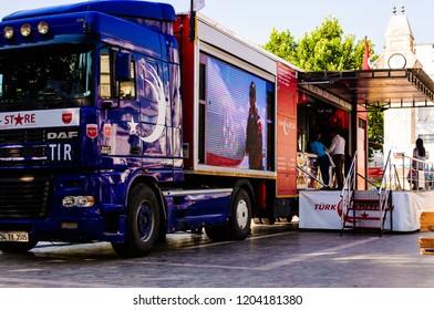 Yalova, Turkey - June 27, 2016: Promotional truck of Turkish Stars airshow team parked for selling merchandise in the central square of a holiday and summer vacation town in Marmara region