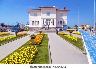 Yalova, Turkey - May 16, 2016: View from the Yalova City Hall, central square of Yalova city located Marmara Coast, Turkey. Daily life and cityscape on May 16, 2016.