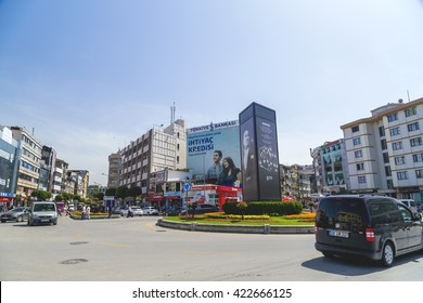 Yalova, Turkey - May 16, 2016: View from the central square of Yalova city located Marmara Coast, Turkey. Daily life and cityscape on May 16, 2016.
