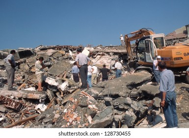 YALOVA, TURKEY-AUGUST 17 : The 1999 Izmit earthquake was a 7.6 magnitude earthquake that struck northwestern Turkey on August 17, 1999. The event lasted for 37 seconds, killing around 17,000 people.