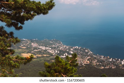 Yalta cityscape from aerial view. Coast of the Black Sea. Crimea Peninsula